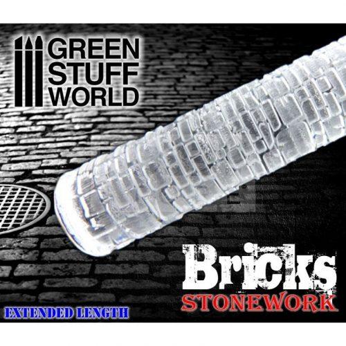 Green Stuff World ROLLING PIN BRICKS textúrált formázó rúd (tégla-térkő mintájú)