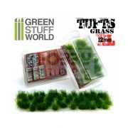Green Stuff World Grass TUFTS XL Realisztikus Dark Green színű fűcsomók diorámához (12mm self-adhesive - DARK GREEN)