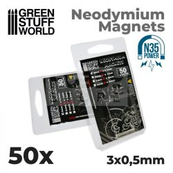 Green Stuff World Neodymium Magnets 3x0.5mm - 50 units (N35)-Neodimium mágnes N35 (50 db)