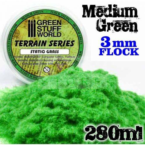 Green Stuff World MEDIUM GREEN statikus szórható műfű (Static Grass Flock XL- 3 mm - Medium Green - 280 ml)