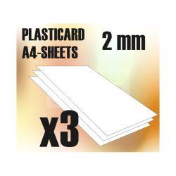 Green Stuff World ABS Plasticard A4 - 2mm COMBOx3 sheets (A4 méretű ABS lap 2 mm)