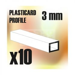 Green Stuff World ABS Plasticard - Profile SQUARED TUBE 3 mm (Négyszög alakú ABS  profil 3 mm)