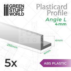 Green Stuff World ABS Plasticard - Profile ANGLE-L 4 mm (L alakú ABS Plasztik profil 4 mm)