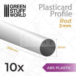 Green Stuff World ABS Plasticard - Profile ROD 3 mm (ABS rúd profil 3 mm)