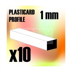 Green Stuff World ABS Plasticard - Profile SQUARED ROD 1mm (ABS Négyszögletes rúd profil 1 mm)
