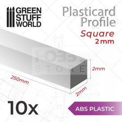 Green Stuff World ABS Plasticard - Profile SQUARED ROD 2mm (ABS Négyszögletes rúd profil 2 mm)