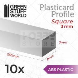 Green Stuff World ABS Plasticard - Profile SQUARED ROD 3mm (ABS Négyszögletes rúd profil 3 mm)