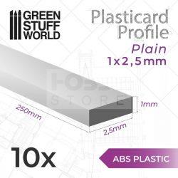 Green Stuff World ABS Plasticard - Profile PLAIN 2,5 mm (Lapos  ABS Plasztik profil 2,5 mm)