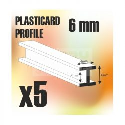 Green Stuff World ABS Plasticard - Profile H-Beam Columns 6mm ( H alakú ABS profil 6 mm)