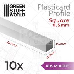 Green Stuff World ABS Plasticard - Profile SQUARED ROD 0,5mm (ABS Négyszögletes rúd profil 0,5 mm)