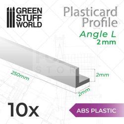 Green Stuff World ABS Plasticard - Profile ANGLE-L 2 mm (L alakú ABS Plasztik profil 2 mm)
