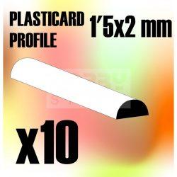 Green Stuff World ABS Plasticard - Profile SEMICIRCLE 2 mm (Félkör alakú ABS Plasztik profil 2 mm)
