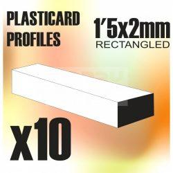 Green Stuff World ABS Plasticard - Profile RECTANGLED ROD 1.5x2 mm (ABS Téglalap alakú rúd profil 1,5X2 mm)