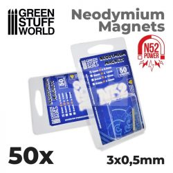 Green Stuff World Neodymium Magnets 3x0.5mm - 50 units (N52)-Neodimium mágnes N52 (50 db)