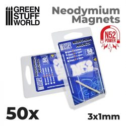 Green Stuff World Neodymium Magnets 3x1mm - 50 units (N52)-Neodimium mágnes N52 (50 db)