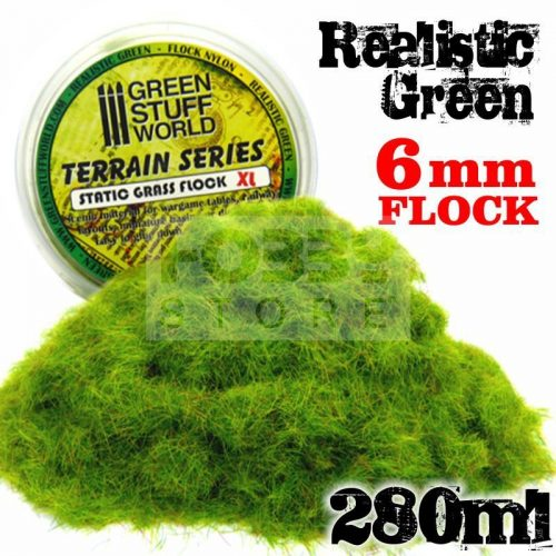 Green Stuff World REALISTIC GREEN statikus szórható műfű (Static Grass Flock XL- 6 mm - Realistic Green - 280 ml)