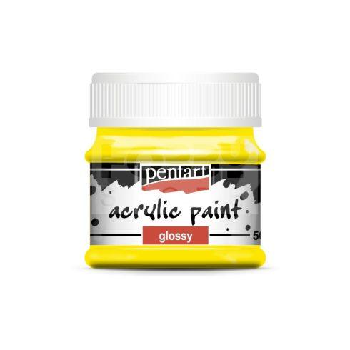 Pentart Fényes sárga színű akril bázisú hobbi festék 50 ml