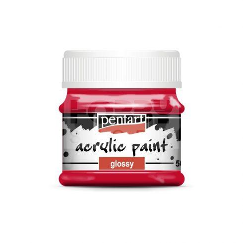 Pentart Fényes rúzspiros színű akril bázisú hobbi festék 50 ml