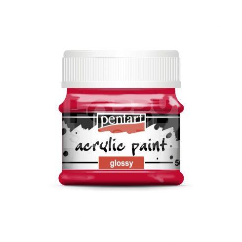 Pentart Fényes piros színű akril bázisú hobbi festék 50 ml