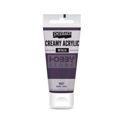 Pentart metál lila színű akril bázisú krémes hobbi festék 60 ml