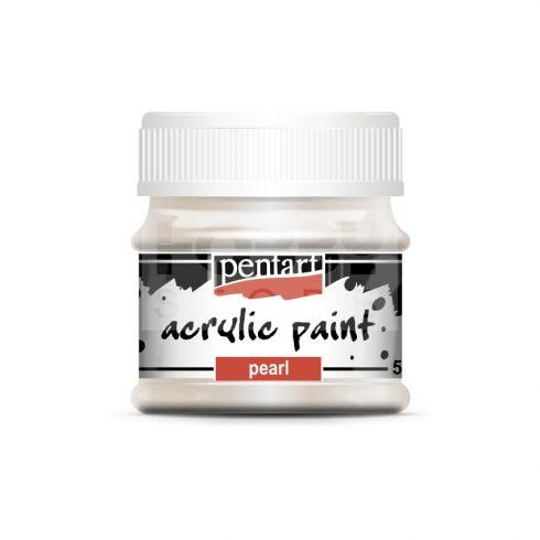 Pentart Gyöngyház fehér színű akril bázisú hobbi festék 50 ml
