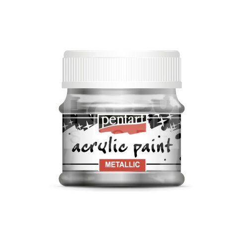 Pentart Metál csillogó ezüst színű akrilfesték - hobbi festék 50 ml 3505