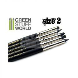 Green Stuff World Formázó szilikon ecset 2-es méret-kemény (Colour Shapers Brushes SIZE 2 - BLACK FIRM)