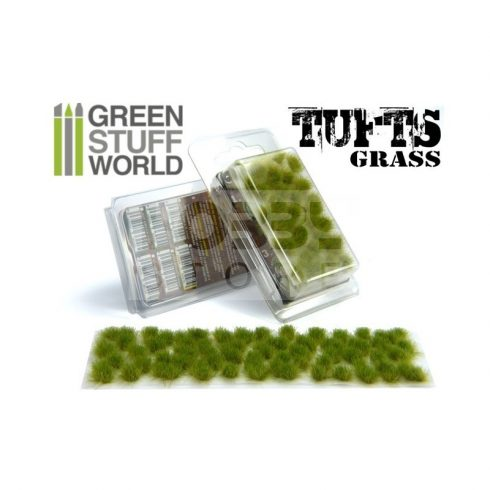 Green Stuff World Grass TUFTS Realisztikus Green színű fűcsomók diorámához (6 mm self-adhesive - REALISTIC GREEN)