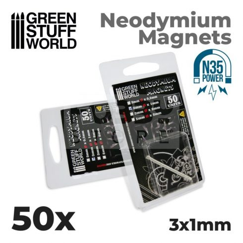 Green Stuff World Neodymium Magnets 3x1mm - 50 units (N35)-Neodimium mágnes N35 (50 db)