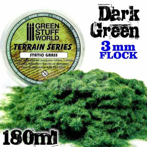 Green Stuff World DARK GREEN 3 mm-es statikus szórható műfű (Static Grass Flock - 3 mm - Dark Green - 180 ml)