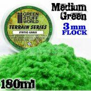 Green Stuff World MEDIUM GREEN 3 mm-es statikus szórható műfű (Static Grass Flock - 3 mm - Medium Green - 180 ml)