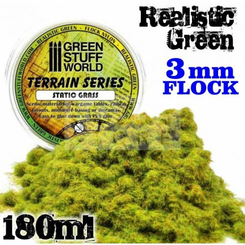 Green Stuff World REALISTIC GREEN statikus 3 mm-es szórható műfű (Static Grass Flock - 3 mm - Realistic Green - 180 ml)