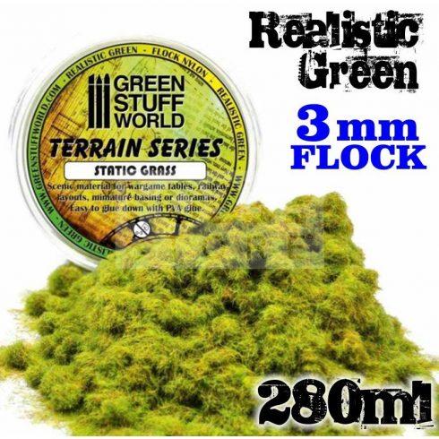 Green Stuff World REALISTIC GREEN 3mm-es statikus szórható műfű (Static Grass Flock - 3 mm - Realistic Green - 280 ml)