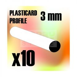 Green Stuff World ABS Plasticard - Profile ROD 3 mm (ABS rúd profil 3 mm)