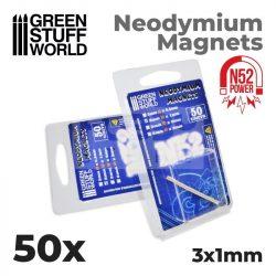 Green Stuff World Neodymium Magnets 3x1mm - 50 units (N52)-Neodimium mágnes N52 (50 db)