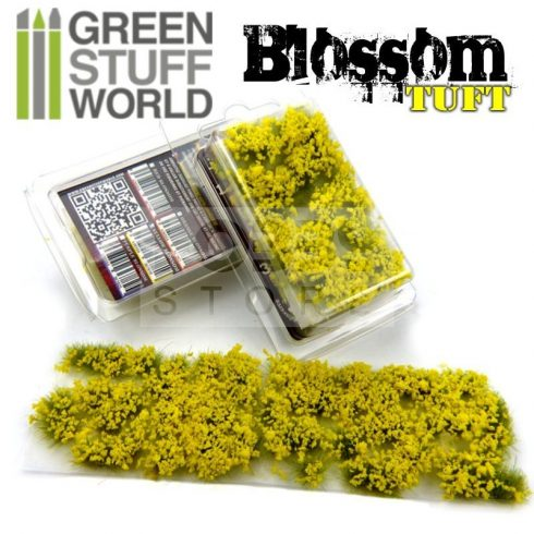 Green Stuff World BLOSSOM TUFTS Realisztikus citromsárga színű virágcsomók diorámához (6 mm self-adhesive - YELLOW Flowers)
