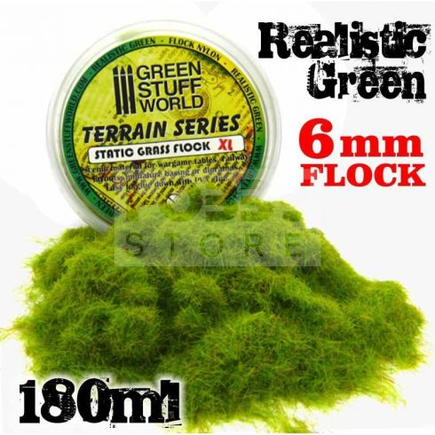 Green Stuff World REALISTIC GREEN 6 mm-es statikus szórható műfű (Static Grass Flock XL- 6 mm - Realistic Green - 180 ml)