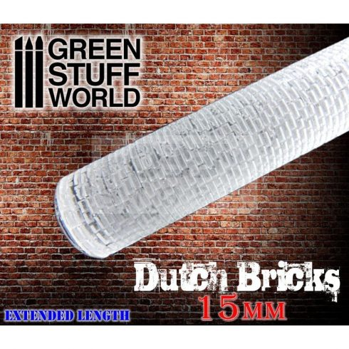 Green Stuff World ROLLING PIN DUTCH BRICKS textúrált formázó rúd 15mm (holland tégla mintájú)