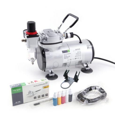 Airbrush készlet egyhengeres mini kompresszoral - Airbrush Set Fengda FD-130 with compressor FD18-2K